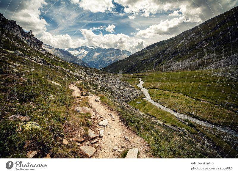 Ein einsamer Pfad. Umwelt Natur Landschaft Pflanze Wolken Sommer Felsen Alpen Berge u. Gebirge Schneebedeckte Gipfel schön Traumlandschaft Erholungsgebiet