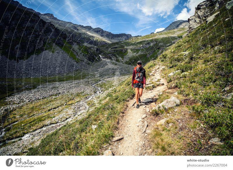Der Pfad Frau Erwachsene wandern Wege & Pfade Fußweg Panorama (Aussicht) Spaziergang gehen Berge u. Gebirge Bergsteigen Panoramaweg Landschaft Naturschutzgebiet