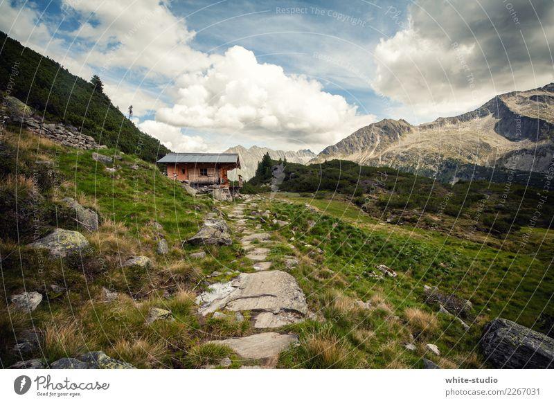 Berghütte Gesundheit Freizeit & Hobby Sommer Sommerurlaub Sonne Berge u. Gebirge wandern Hügel Alpen Panorama (Aussicht) Hütte Hüttenferien Bergurlaub