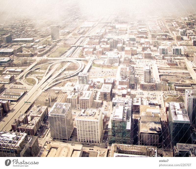 Stadt-Muster Haus Autobahn Autobahnkreuz hoch trist Chicago Wolken USA betoniert Gedeckte Farben Außenaufnahme Luftaufnahme Menschenleer Vogelperspektive