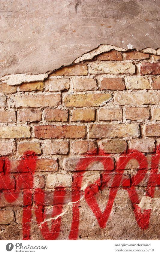 freigelegt Fassade Diät rot Graffiti Kunst Straßenkunst Mauer Backstein Putz Schriftzeichen Buchstaben Farbstoff Menschenleer Backsteinwand kaputt Großbuchstabe