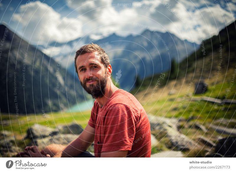 Auf geht's! wandern maskulin 18-30 Jahre Jugendliche Erwachsene Umwelt Natur Landschaft Sommer Hügel Alpen Berge u. Gebirge Schneebedeckte Gipfel Bewegung