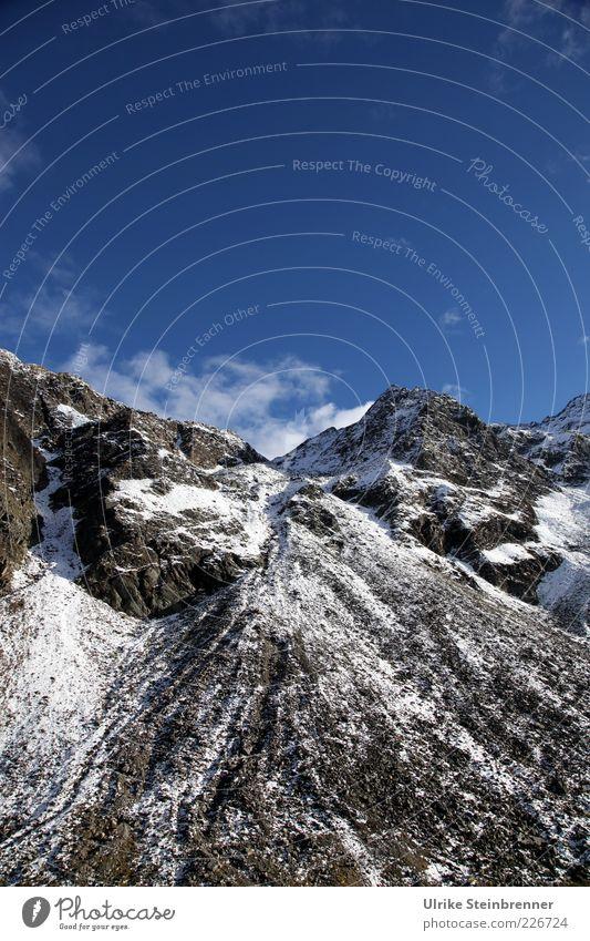 Gletschermüll Natur Landschaft Himmel Sonnenlicht Herbst Schönes Wetter Eis Frost Schnee Felsen Alpen Berge u. Gebirge Gipfel Schneebedeckte Gipfel
