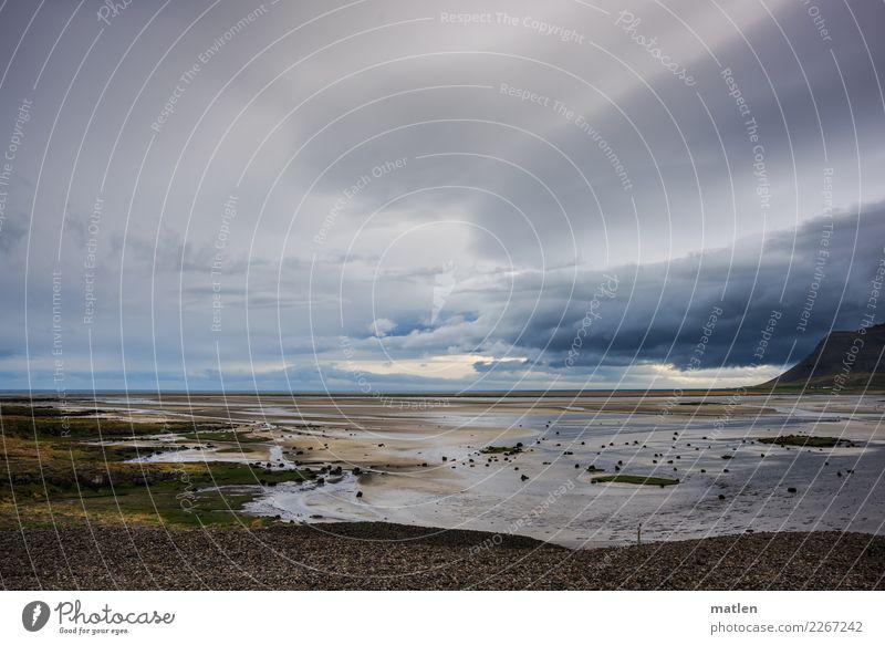 Gefilde Natur Landschaft Sand Wasser Himmel Wolken Frühling Wetter Wind Berge u. Gebirge Küste Strand Bucht Meer dunkel maritim blau grau grün rosa Island