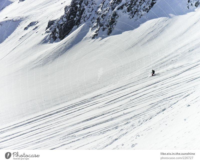 Guten morgen! ich geh ez..... Ausflug Freiheit Wintersport androgyn 1 Mensch Eis Frost Schnee Felsen Berge u. Gebirge genießen Sport Freude Lebensfreude