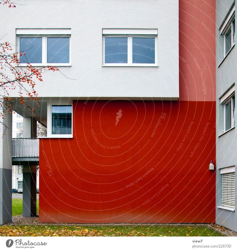 Arbeitsamt weiß rot Haus Farbe Fenster Fassade Ordnung Beton Autofenster Beginn modern frisch ästhetisch Perspektive authentisch