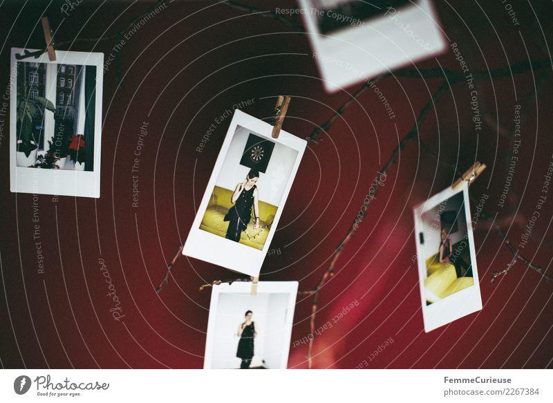 Instant pictures as decoration (01) Lifestyle feminin Mensch 18-30 Jahre Jugendliche Erwachsene Design Dekoration & Verzierung Sofortbildkamera Polaroid Klammer
