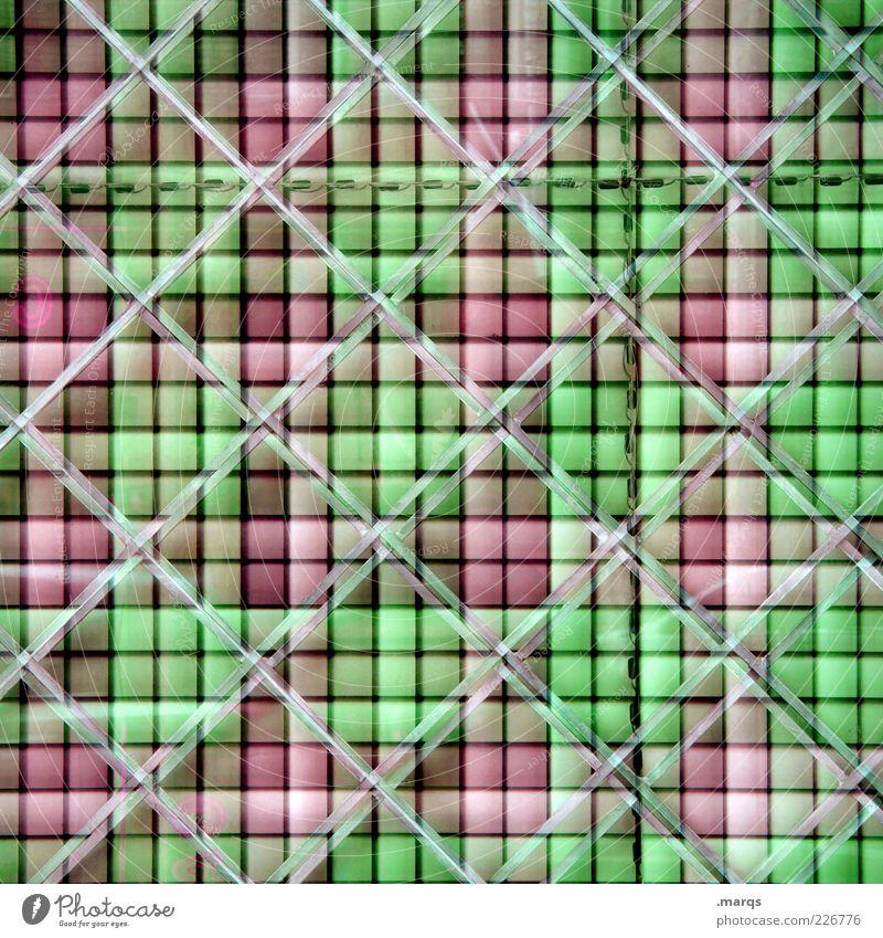 Grid Lifestyle Stil Design Linie außergewöhnlich eckig trendy einzigartig verrückt grün rosa Farbe skurril Surrealismus Hintergrundbild Raster Farbfoto