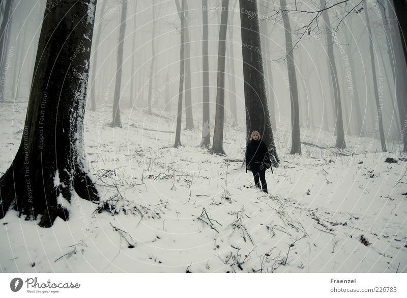...steht im Walde... Mensch Natur weiß Baum Ferien & Urlaub & Reisen Pflanze ruhig Wald Ferne kalt Landschaft Schnee Berge u. Gebirge Zeit Erde Nebel