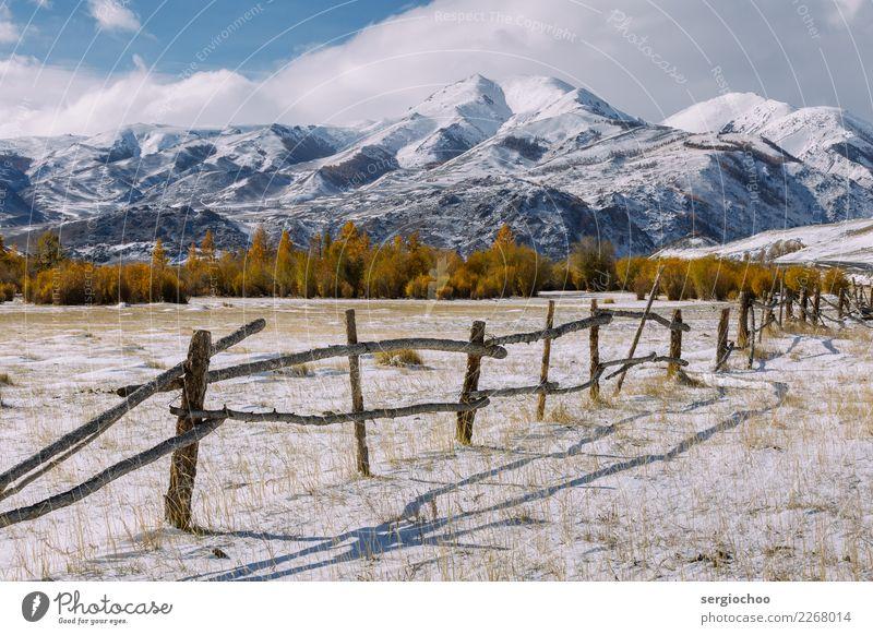 alter Zaun Ferien & Urlaub & Reisen Tourismus Ausflug Abenteuer Freiheit Expedition Winterurlaub Berge u. Gebirge wandern Natur Wolken Herbst Klimawandel Eis