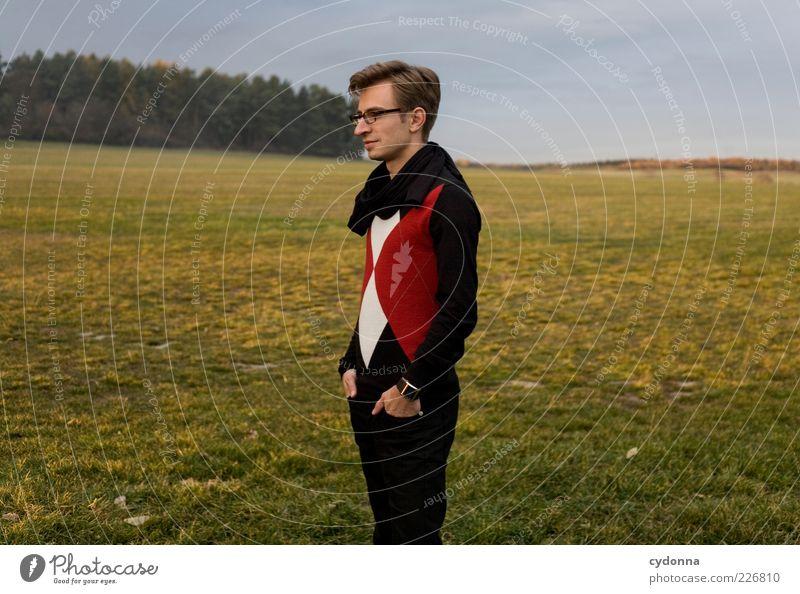 Mal schauen was kommt Mensch Natur Jugendliche Hand ruhig Einsamkeit Ferne Wald Erholung Leben Wiese Freiheit Umwelt Landschaft Gras Stil