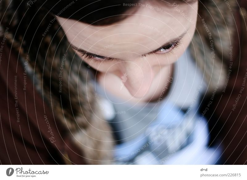 """v"" Mensch Frau Jugendliche Auge feminin braun Haut Nase Perspektive Junge Frau nachdenklich Beautyfotografie Fell Verstand bleich Wange"