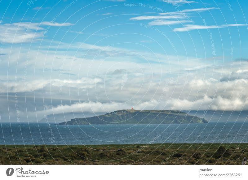 Insel Grimsey Himmel Natur Pflanze blau grün Wasser weiß Landschaft Meer Wolken Berge u. Gebirge Frühling Küste Gras braun orange