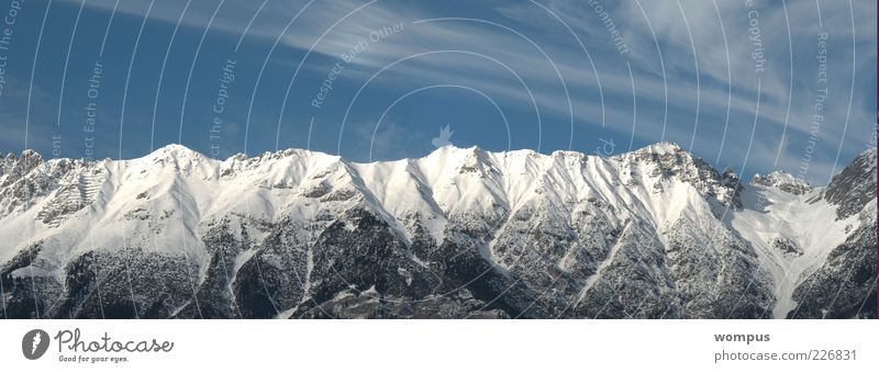 Postkartenwetter Himmel Natur blau weiß Wolken Winter Schnee Berge u. Gebirge Landschaft Wind Felsen Alpen Gipfel Schönes Wetter Schneebedeckte Gipfel