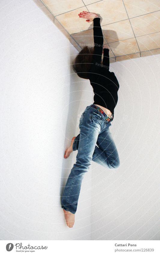 Free&Easy Frau Mensch Jugendliche blau weiß schwarz Erwachsene Wand Freizeit & Hobby elegant Kraft außergewöhnlich Körperhaltung Fitness Gleichgewicht