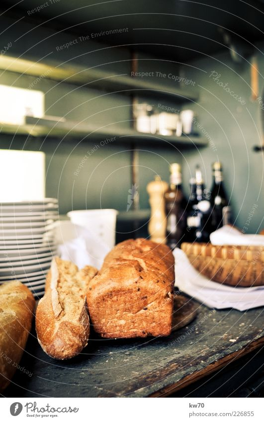 Brotzeit Holz Lebensmittel Ernährung Restaurant Reichtum Teller Mittagessen Weizen Öl Weißbrot Korb Vesper Regal rustikal Backwaren