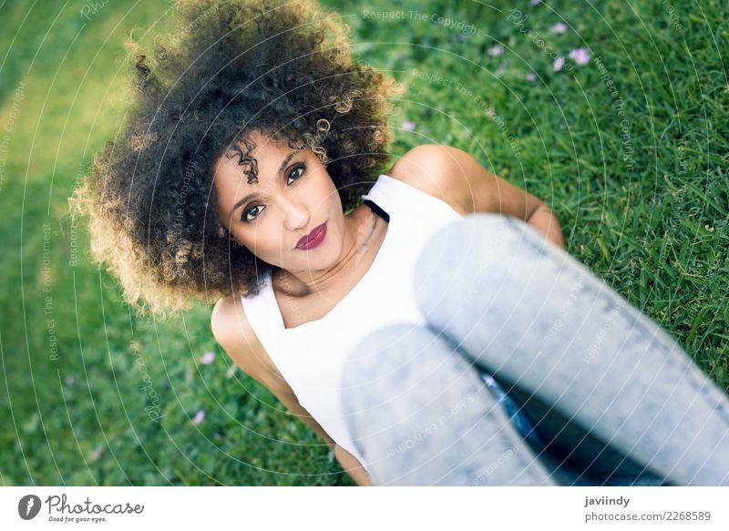 Gemischte Frau mit Afro-Frisur, die im Stadtpark sitzt. Lifestyle Stil Glück schön Haare & Frisuren Gesicht Sommer Mensch feminin Junge Frau Jugendliche