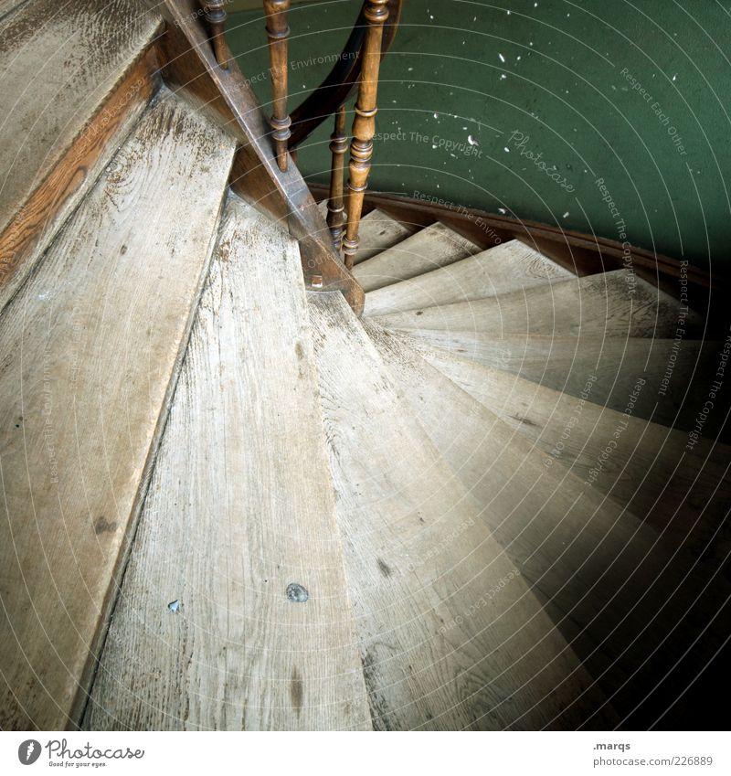 Down alt Wand Holz Treppe Perspektive Treppengeländer Treppenhaus abwärts Maserung Lichteinfall