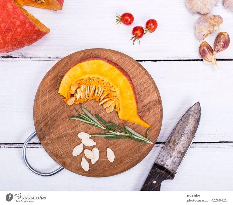 frische Kürbisscheiben Natur weiß Speise Essen Herbst natürlich Holz Dekoration & Verzierung Ernährung Tisch Kräuter & Gewürze Küche Gemüse Jahreszeiten Ernte