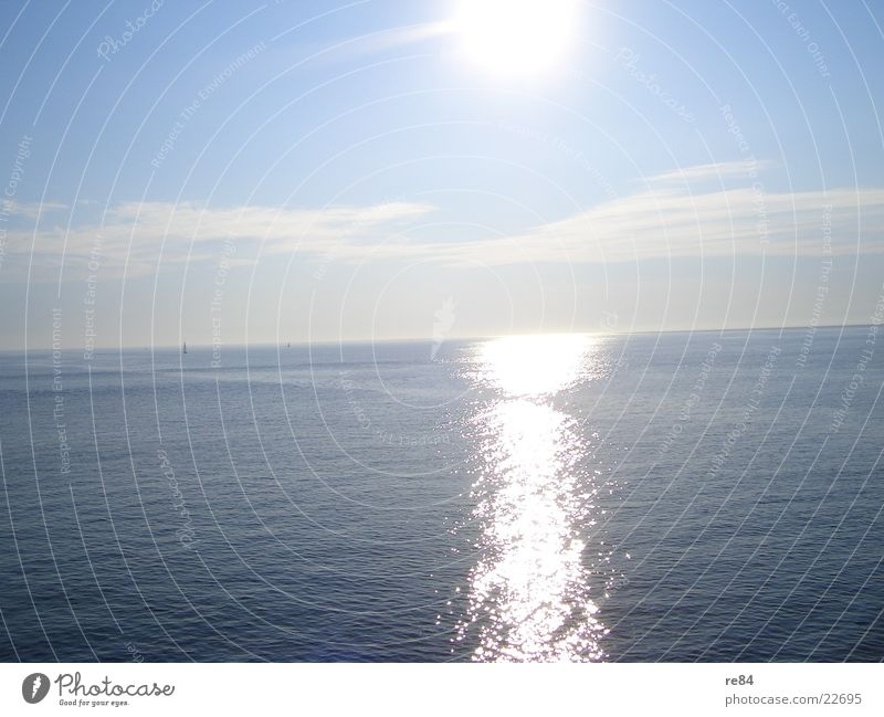 Sun of the Northern Sea Wasser Himmel weiß Sonne Meer blau Sommer Strand Ferien & Urlaub & Reisen ruhig Wolken See Wasserfahrzeug Wellen Horizont Nordsee