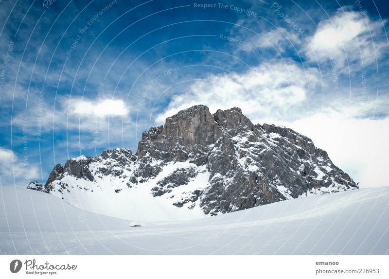 Die Sulzfluh Himmel Natur blau weiß Ferien & Urlaub & Reisen Wolken Winter Schnee Freiheit Berge u. Gebirge Landschaft Eis Ausflug Felsen hoch Tourismus