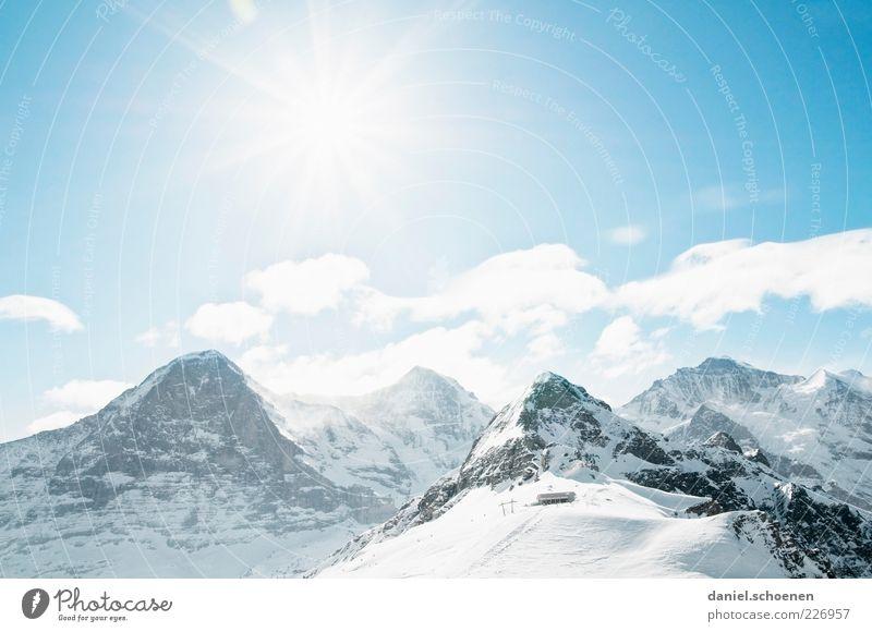 die Aussicht ... Himmel blau weiß Sonne Ferien & Urlaub & Reisen Winter Schnee Berge u. Gebirge Landschaft hell Wetter Ausflug Tourismus Klima Alpen Schweiz