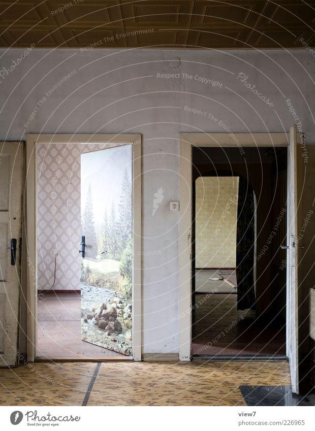 Ästhetik-frei alt Haus dunkel Wand Mauer braun Tür Raum Wohnung Beton Innenarchitektur authentisch Häusliches Leben retro einfach Dekoration & Verzierung