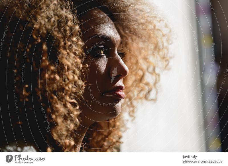 Nahaufnahme-Porträt einer jungen afroamerikanischen Frau mit Afrofrisur und grünen Augen elegant schön Haare & Frisuren Gesicht Mensch feminin Junge Frau