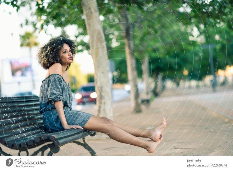 Barfuß schwarze Frau mit Afro-Frisur, die auf einer Bank sitzt. Lifestyle Stil schön Haare & Frisuren Mensch feminin Junge Frau Jugendliche Erwachsene 1