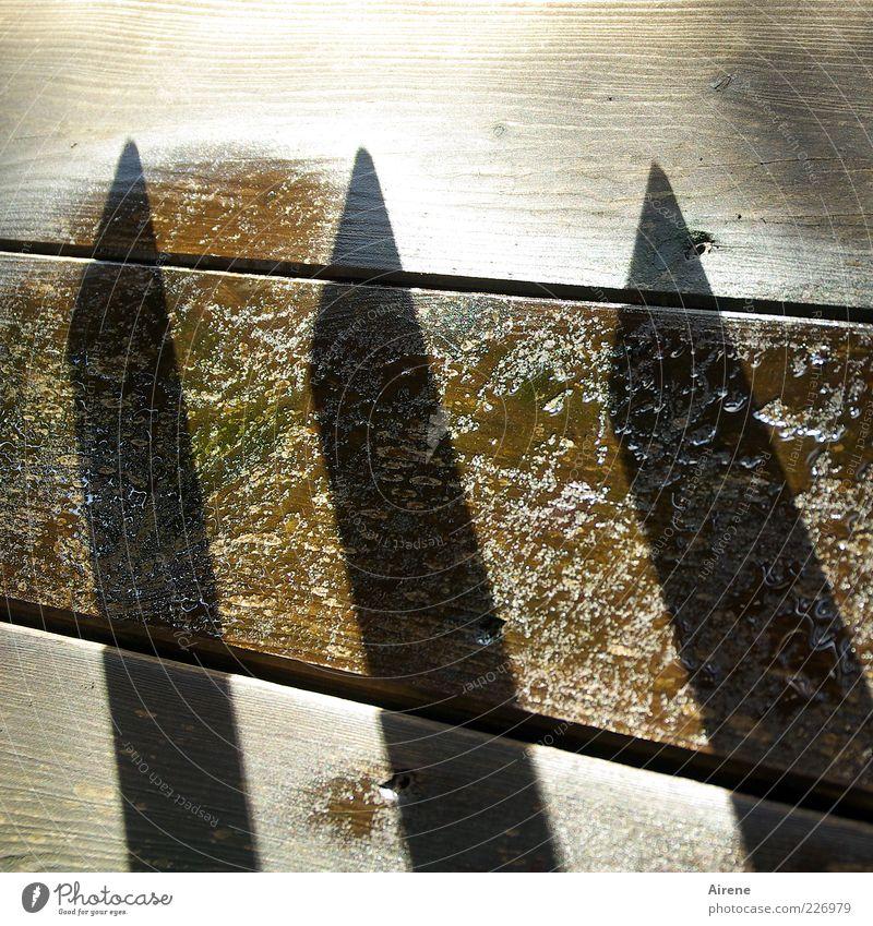 Strichliste Wassertropfen Balkon Bodenplatten Geländer Holzfußboden Pfütze Zeichen Linie Holzpfahl glänzend nass Spitze braun grau weiß Aggression Ordnung