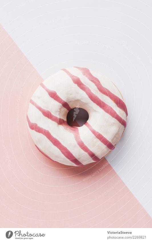 Draufsicht des rosa Donuts auf weißem und rosa Hintergrund Lebensmittel Teigwaren Backwaren Kuchen Dessert Frühstück Dekoration & Verzierung Feste & Feiern