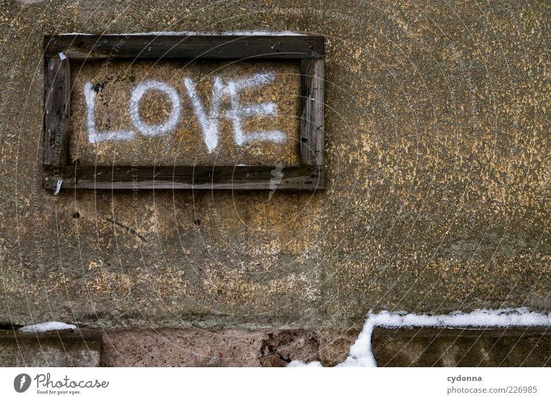 Schaukasten 'Liebe' Winter Schnee Mauer Wand Schriftzeichen Schilder & Markierungen Graffiti ästhetisch einzigartig Gefühle Hoffnung Idee Kreativität