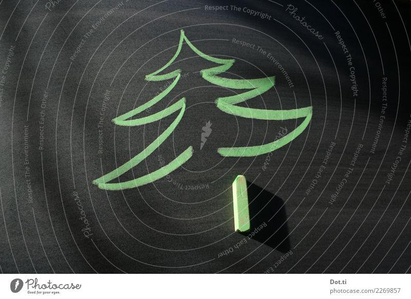 late christmas Weihnachten & Advent Zeichen Tannenbaum zeichnen grün schwarz Kreidezeichnung Tafel Weihnachtsbaum Farbfoto Studioaufnahme Menschenleer