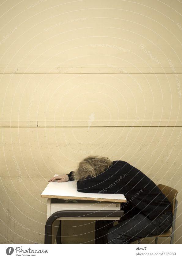 Schule. Mensch alt Erholung Holz Stein lustig Linie braun maskulin modern lernen schlafen Studium authentisch Schulgebäude