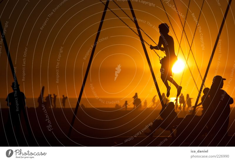 Strandleben I Lifestyle Freizeit & Hobby Spielen Mensch Kind Junge Menschengruppe Sonne Sonnenaufgang Sonnenuntergang Sonnenlicht Los Angeles Kalifornien