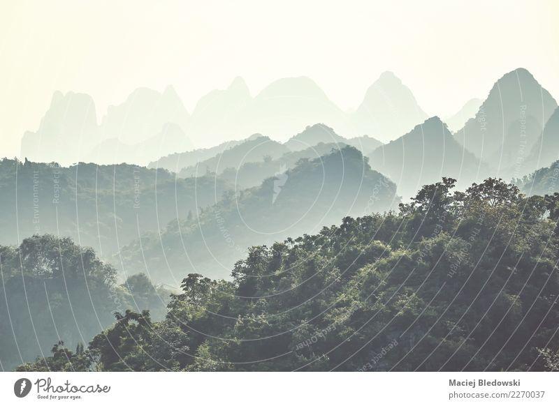 Karstberge an einem nebeligen Tag, Guilin, China. Ferien & Urlaub & Reisen Abenteuer Expedition Camping Berge u. Gebirge Natur Landschaft Nebel Wald Hügel schön