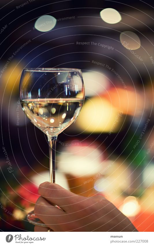 Santé! Getränk Alkohol Wein Weißwein Weinglas Lifestyle Reichtum Nachtleben Restaurant ausgehen Feste & Feiern trinken gebrauchen festhalten glänzend genießen