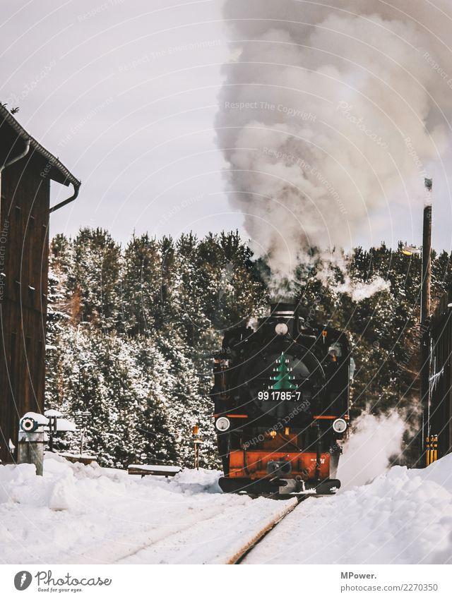 dampfross alt Winter Verkehr Technik & Technologie Eisenbahn Rauch Verkehrswege Gleise Personenverkehr Maschine Verkehrsmittel Wasserdampf Lokomotive Bahnsteig