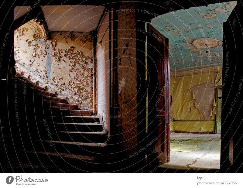Villa im Grünen Menschenleer Haus Ruine Gebäude Architektur Mauer Wand Treppe Tür alt warten dreckig dunkel gruselig historisch blau braun gelb geduldig ruhig