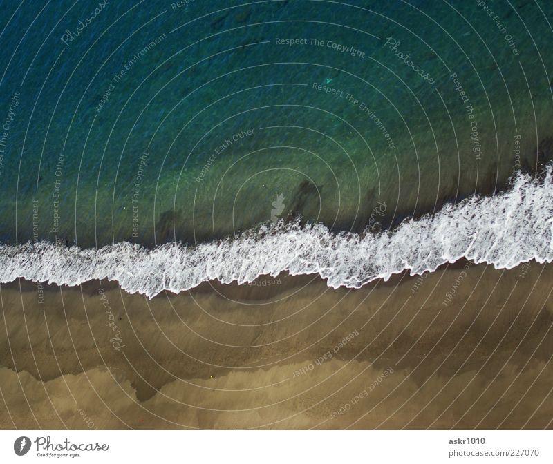 Sehnsucht in Azur blau Sommer Strand Meer ruhig Freiheit Sand Küste Wellen ästhetisch rein Duft harmonisch Brandung Wasseroberfläche Gischt