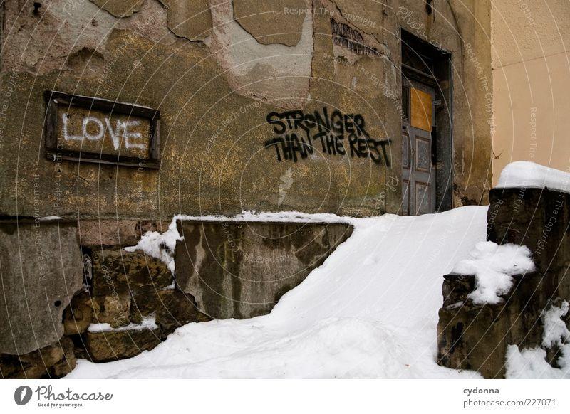 Wahre Liebe Lifestyle Stil Design Winter Eis Frost Schnee Haus Ruine Mauer Wand Treppe Tür Schriftzeichen Schilder & Markierungen Graffiti ästhetisch