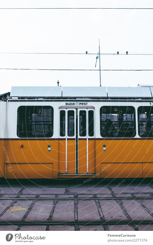 Tram in Budapest Verkehr Verkehrsmittel Personenverkehr Öffentlicher Personennahverkehr Berufsverkehr Straßenverkehr Bahnfahren gelb Gleise Straßenbahn Ungarn