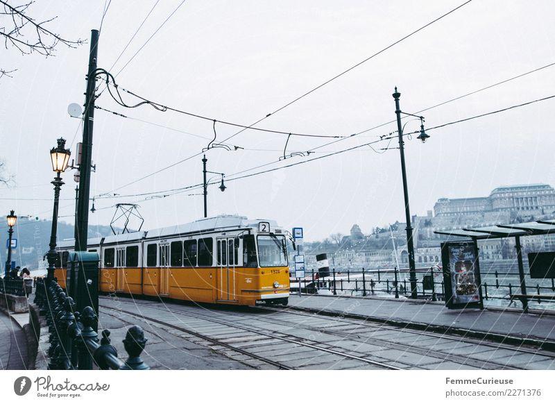 Tram in Budapest Stadt Hauptstadt Güterverkehr & Logistik Öffentlicher Personennahverkehr Straßenbahn Laterne Oberleitung Haltestelle Station Donau gelb Ungarn