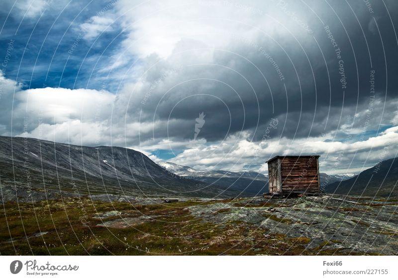 5 Sterne Hütte Himmel grün blau weiß Sommer Wolken Einsamkeit Ferne Berge u. Gebirge Holz Wege & Pfade Stein Luft braun Horizont Felsen