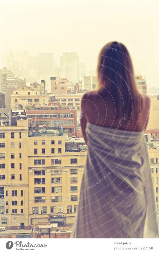 guten morgen manhattan -2-! Mensch Frau Stadt schön Erholung Einsamkeit ruhig Erwachsene Architektur feminin Stil Lifestyle Horizont Fassade träumen Zufriedenheit