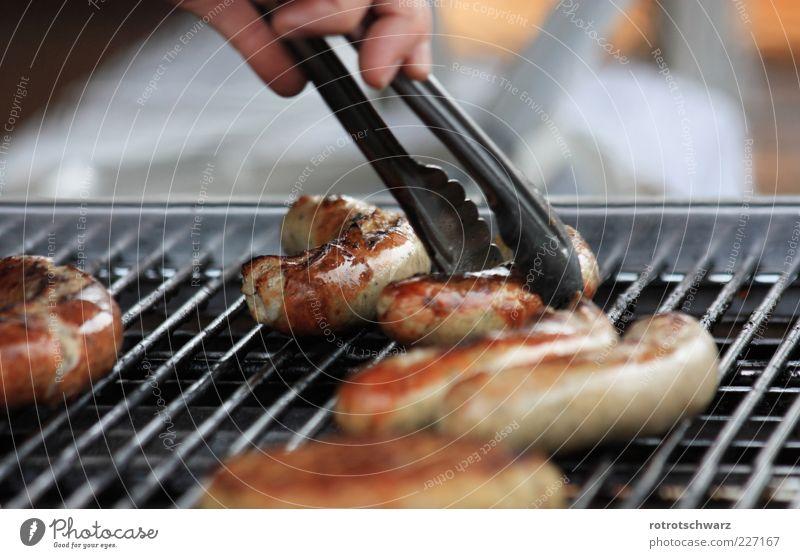 Bratwurst wird gegriffen Lebensmittel Wurstwaren Gastronomie Hand Grill braun Zange nehmen Gitter Kruste gebraten Grillsaison Thüringen Farbfoto mehrfarbig