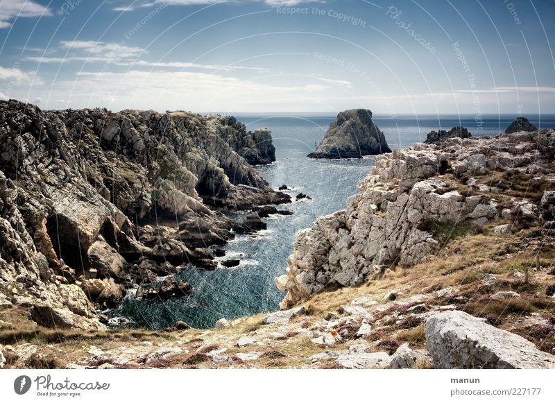 Tas de Pois Natur Wasser Sommer Ferien & Urlaub & Reisen Meer Ferne Erholung Landschaft Luft Horizont Felsen wild Perspektive authentisch einzigartig Urelemente