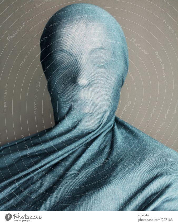 Skulptur Frau Mensch blau feminin Kopf Erwachsene Stil Stoff skurril bewegungslos Tuch verkleiden Hülle unklar Schleier