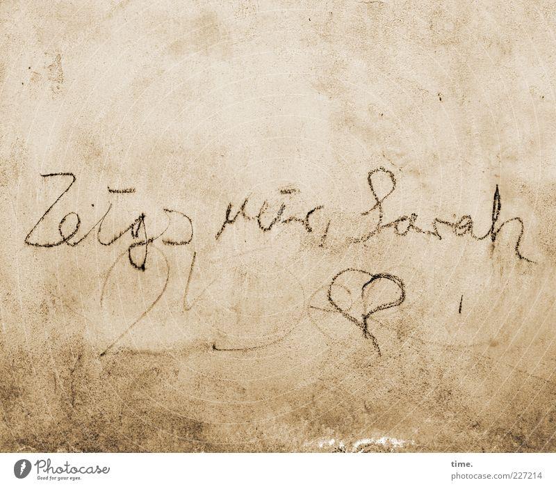 Briefmarkenalbum alt Wand Mauer Herz Schriftzeichen schreiben Information beige Zeichnung Redewendung verrotten Muster Kritzelei auffordern herzförmig Appell