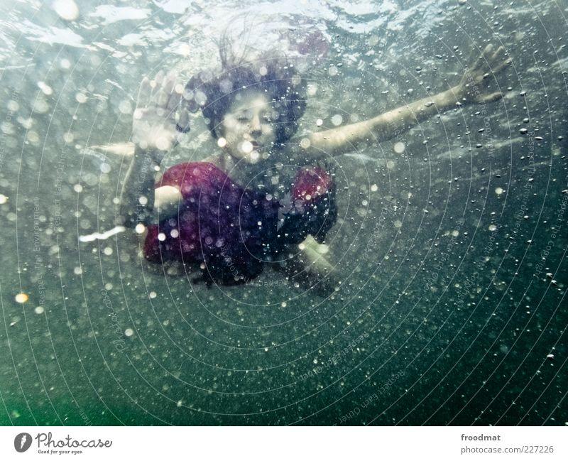 zero Zufriedenheit Erholung ruhig Sommer tauchen Mensch feminin Junge Frau Jugendliche Erwachsene Wasser Bewegung träumen einzigartig rot Romantik schön elegant